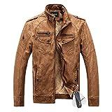 Zicac ジャケット アウターウェア コート 暖か裏起毛 長袖 PUレザー ビジネスジャケット 4色 ファッション メンズ・ボーイズジャケット (L, ブラウン)