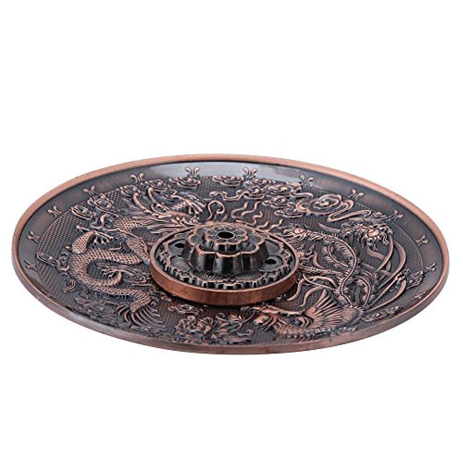 電気圧縮解釈香皿 亜鉛の香り バーナーホルダー寝室の神殿のオフィスのためのドラゴンパターンの香炉プレート(レッドブロンズ)