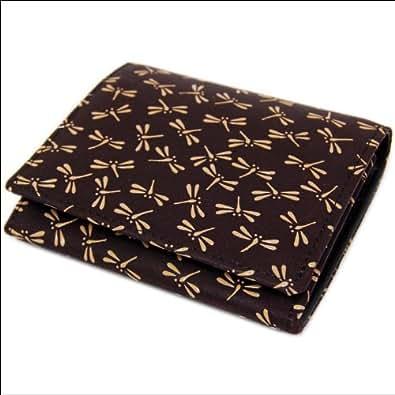 印傳屋 印伝 二つ折財布 二つ折り財布 レディース メンズ  札入れ 2204 とんぼ (紫×白) 日本製 和風 和柄 通販 ギフトに。
