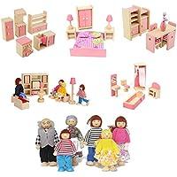 Liushuliang カラフルな木製ドールハウス家具 5セット (41ピース) 6人用 木製ファミリー人形 各2~4インチ