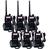 Retevis RT-5R 2 Way Radio 128CH FM UHF VHF Radio Dual Band Two-Way Radio Rechargeable Long Range Walkie Talkies for Adults (6 Pack)