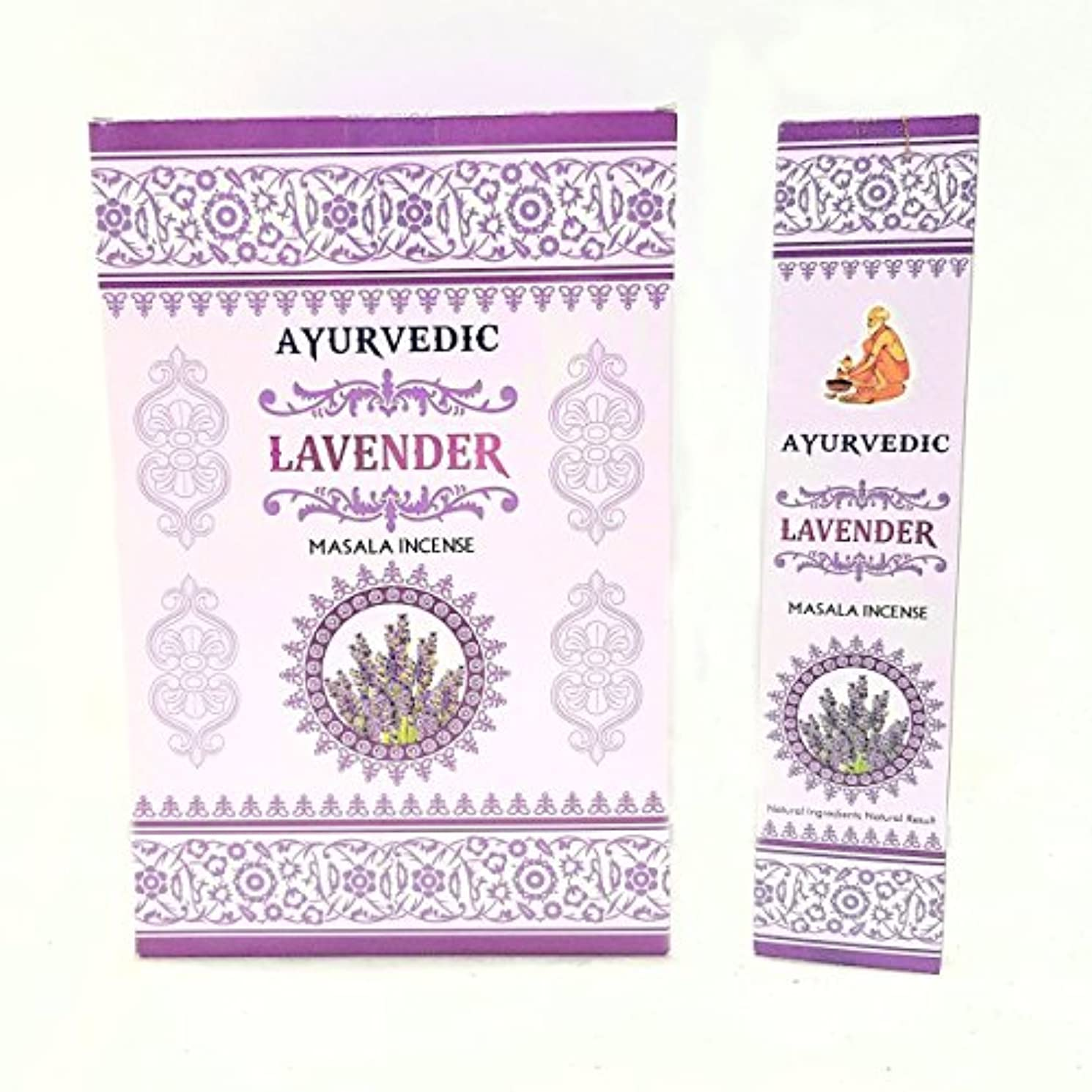 ほぼ中性刺しますAyurvedicラベンダーMasala Incense Sticks Agarbatti ( 12パックcontaining 15 sticks各)