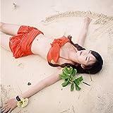 ajaflowersフリルデザイン水着レディーススカート水着付き3点セットラッシュガードフリルセパレートワイヤービキニスカート可愛いセクシー女の子2色3サイズ/(XL(Lサイズ相当),レッド)