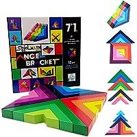 木製教育玩具Preschool子( Aged 3 +、シェイプ&色認識幾何Chunky建物ブロックfor Kids to Learn空間とバランススキル