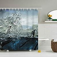 布製シャワーカーテンライナー フック付き 動物自然水中ペンギン 防カビ 防水 ストール バスタブカーテンセット バスルームの装飾用
