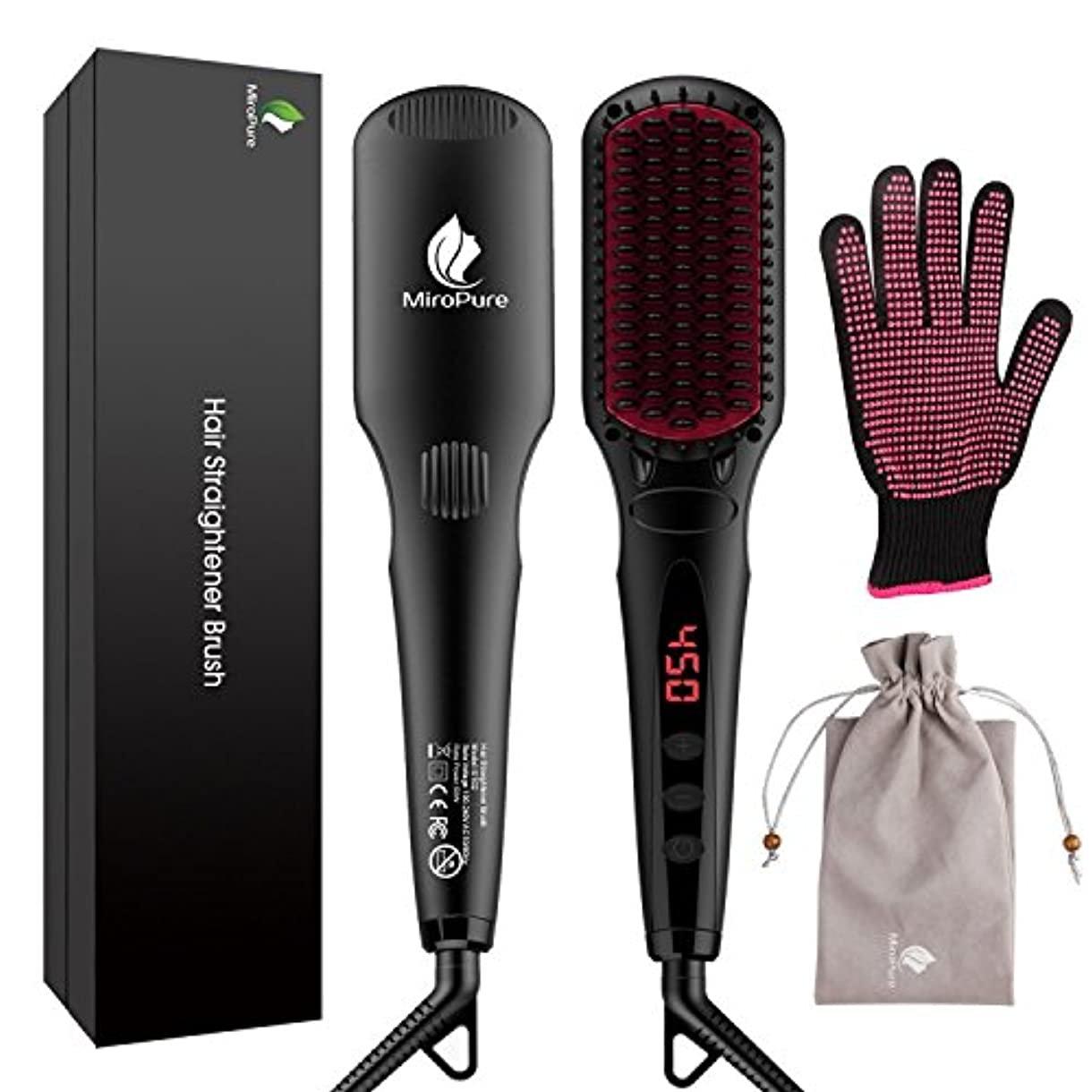 応用令状しょっぱいMiroPure 2 in 1 Ionic Hair Straightener Brush ヘアストレートヘアブラシ with Heat Resistant Glove and Temperature Lock Function...