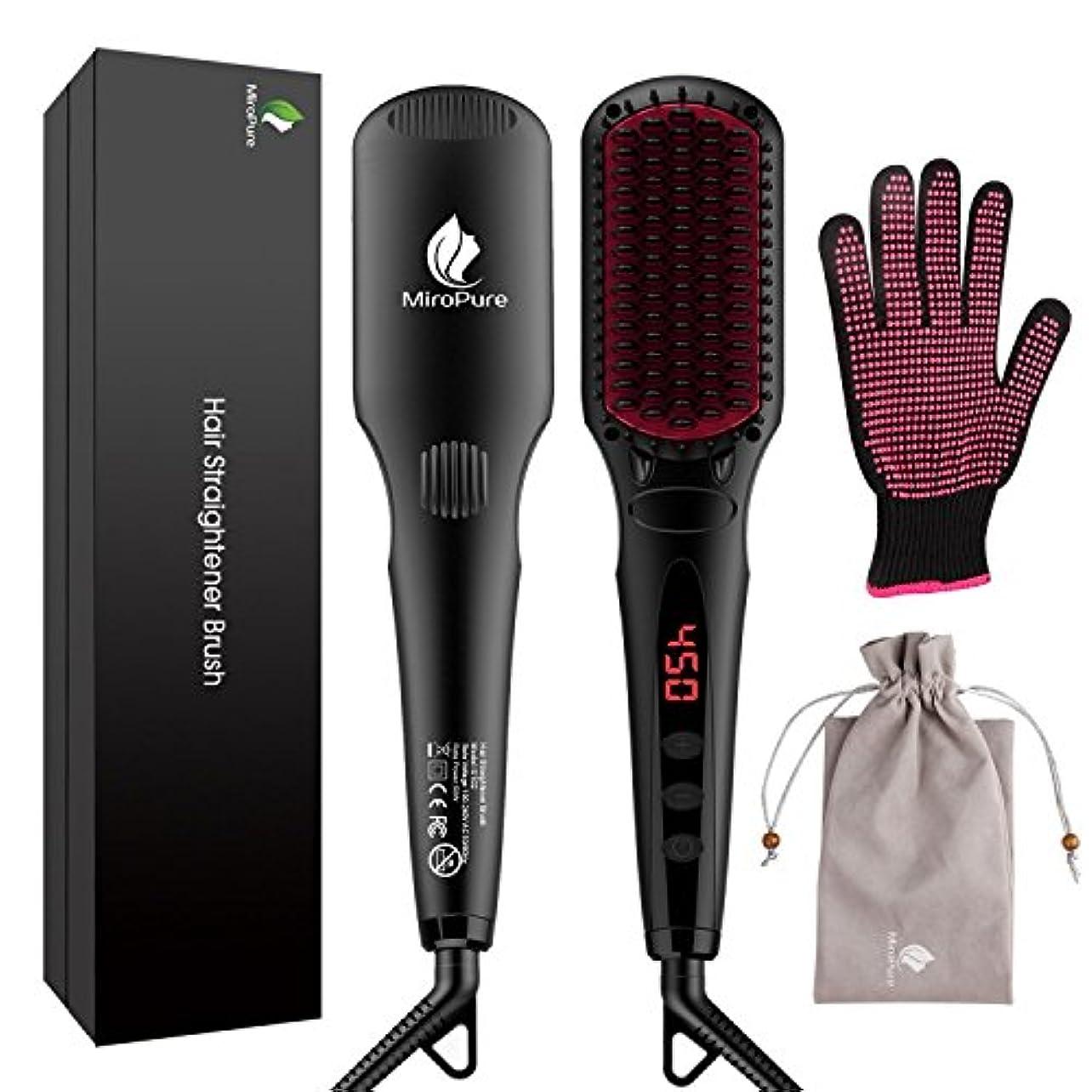 一族レール翻訳者MiroPure 2 in 1 Ionic Hair Straightener Brush ヘアストレートヘアブラシ with Heat Resistant Glove and Temperature Lock Function...