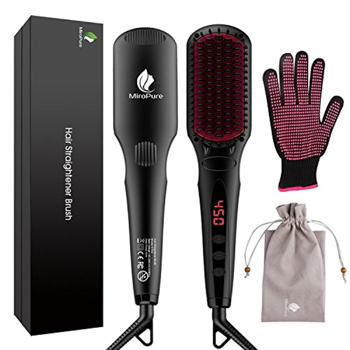 精度黒くする時系列MiroPure 2 in 1 Ionic Hair Straightener Brush ヘアストレートヘアブラシ with Heat Resistant Glove and Temperature Lock Function...