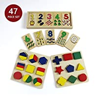 47 Piece Wooden Toddler Toy Gift Set - Includes 123 Puzzle and Color and Shape Puzzle by Bab's Babies [並行輸入品]
