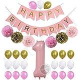 1st誕生日バナーGirl Pastel Pink ピンク Y0-4T23-M4H0