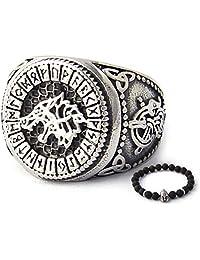 BaviPower Runic Fenrir Wolf Ring 316L Stainless Steel Norse Scandinavian Viking Jewelry