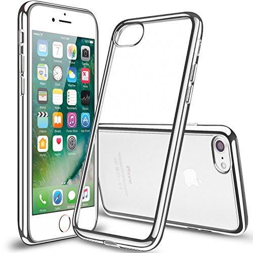 iPhone7 ケース TPU 【COOLOO】透明 ソフト クリア メッキ加工 耐衝撃 最軽量 超薄型 一体型 人気 オシャレ アイフォン 7 用 (シルバー)