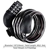Texdesign バイクケーブルロック セルフコイリング 4フィート 12mm 編組スチールケーブル 再設定可能 コンビネーションケーブルロック 取り付けブラケット付き