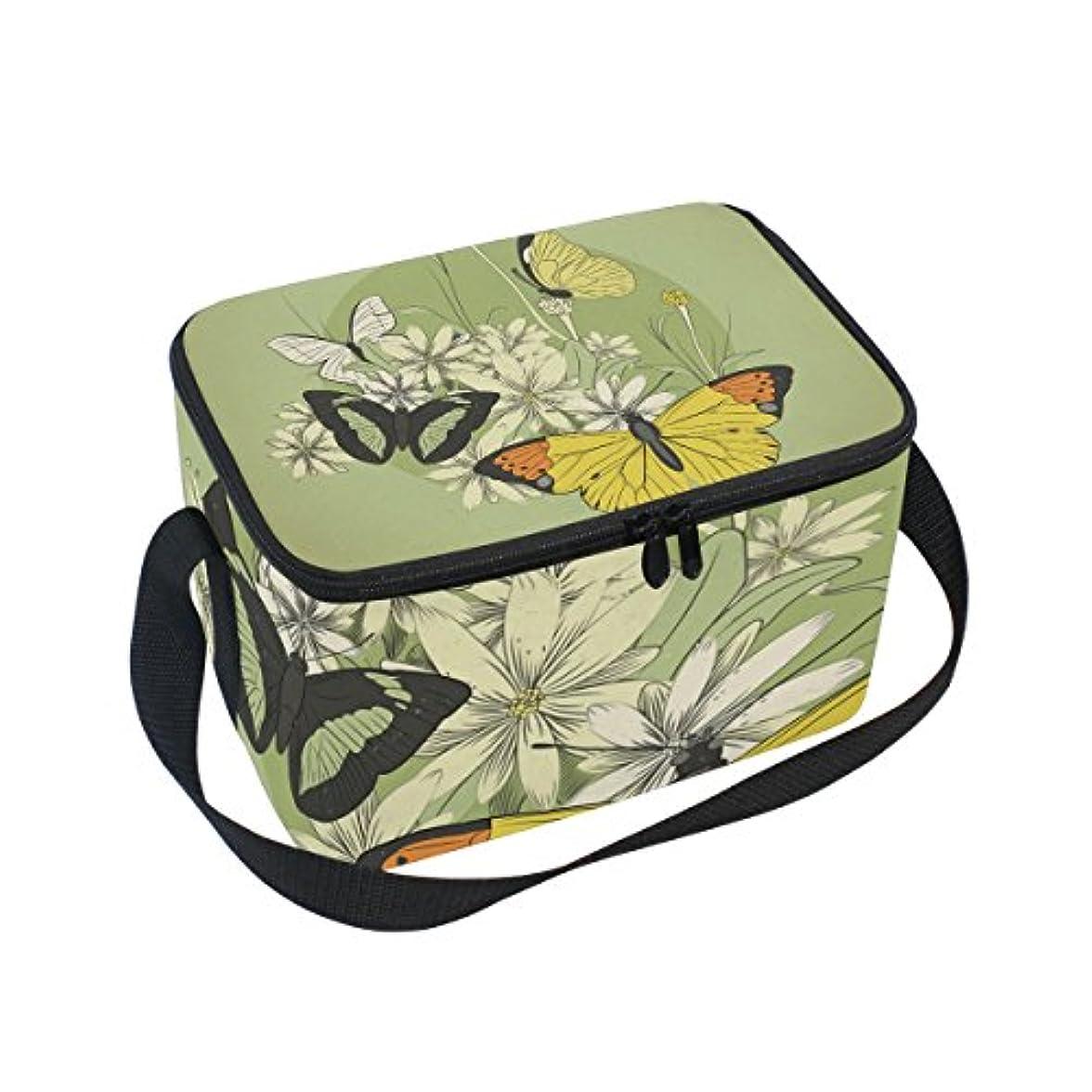 リクルートお風呂を持っている地下鉄クーラーバッグ クーラーボックス ソフトクーラ 冷蔵ボックス キャンプ用品  金色の蝶柄 保冷保温 大容量 肩掛け お花見 アウトドア