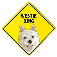 WESTIE XING ラミネートサイン:ウェスティー 横断 注意 Made in U.S.A [並行輸入品]