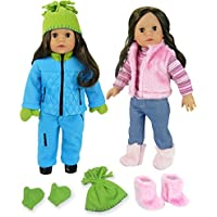 Doll Clothes & Doll Shoes for 18 Inch Doll Includes 8 Pieces by Sophia's, Pink Casual Winter Outfit Plus Blue Polar