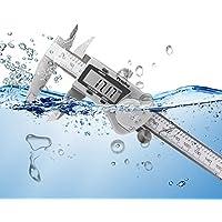 Preciva ノギス デジタルノギス 液晶デジタルノギス ステンレス製  外径/内径/深さ/段差計測 高精度 IP54 防水防塵 耐水性良い 150mm  大画面ディスプレイ付 コンパクト ボタンセルとねじ回し付き ケース付き 日本計量法の規定に合う mm