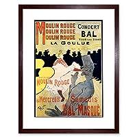 Ad Vintage Lautrec Moulin Rouge La Goulue Mask Ball Framed Wall Art Print ビンテージアンリ・ド・トゥールーズロートレックマスク玉壁