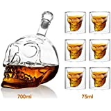 Amzdeal 6 x Crystal Skull Head Wine Glass (75ml) + 1 x Wine Decanter Wine Carafe (700ml)