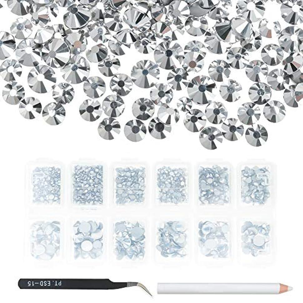 首尾一貫したレタッチ許容できるAumesa Rano ネイル デコ用 カラーラインストーン 大容量セット 3D ネイルアート セルフネイル レジン ネイル ピンセット+ペン付き (シルバー)
