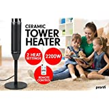 Scenic 2000W Electric Heater Remote Fan Tower Portable Oscillating Ceramic Black