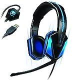 ENHANCE PCゲームヘッドセット仮想7.1チャンネルサラウンド、青色LEDライト、ボリュームリモコン GX-H1