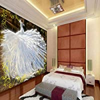 Lcymt カスタム写真壁紙エレガントな白孔雀オープンスクリーンリビングルーム研究カスタム壁画壁紙装飾背景-280X200Cm