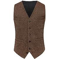 Airtailors Men's Wool British Style Tweed Vintage Wedding Vest Brown