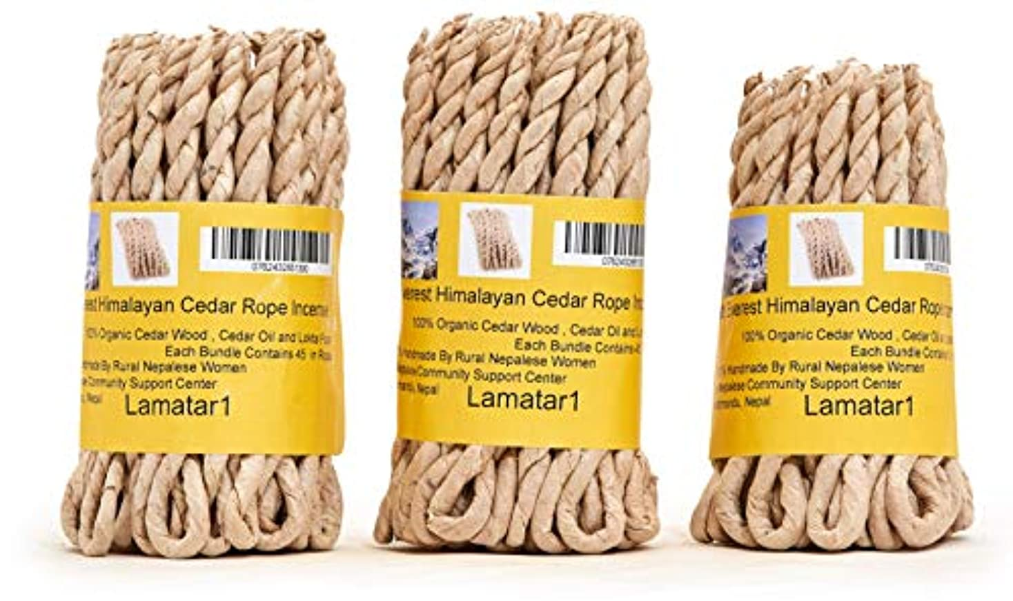 シード詳細に偽装するMT。Everest Himalyan Cedar Rope Incenseロールの3 x 45ロープ= 135ロープfounded by Buddhist Monk Dr。Umesh Lama 1981年に