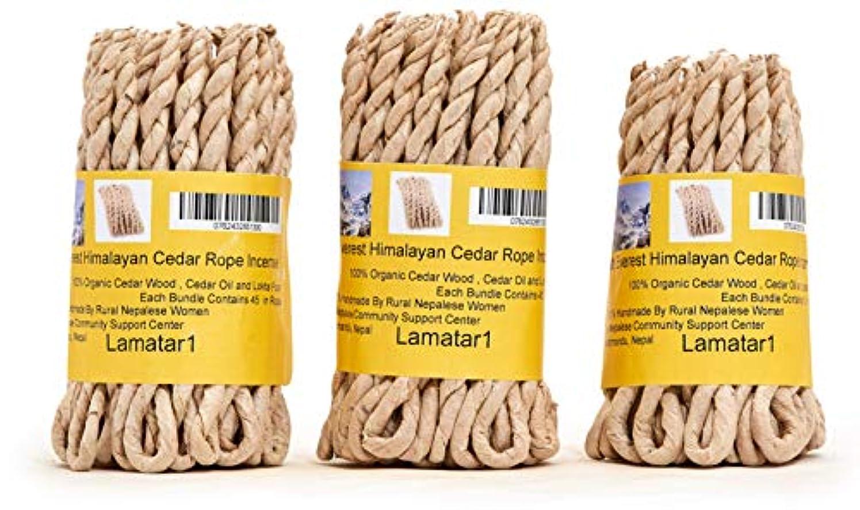 カリング穏やかな校長MT。Everest Himalyan Cedar Rope Incenseロールの3 x 45ロープ= 135ロープfounded by Buddhist Monk Dr。Umesh Lama 1981年に
