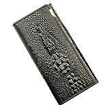 本革 牛革 大容量 長 財布 メンズ ワニ 3D立体 クロコ 型押し クラッチバッグ オイルレザー ウォレット 選べる 4色 ブラック (黒)