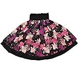 DFギャラリー パウスカート フラ ダンス衣装 レッスン用 ダブル JA5793 70cm丈 ブラックxピンク