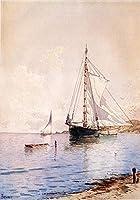 手描き-キャンバスの油絵 - Drying the Main at Anchor beachside Alfred Thompson Bricher 芸術 作品 洋画 ウォールアートデコレーション -サイズ09