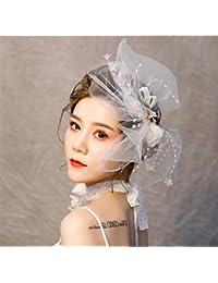 Fascinator 帽子羽メッシュレース蝶サイドレースキャップクリップとヘアバンド女性のため