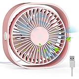 扇風機USB 卓上扇風機 携帯扇風機 ミニ扇風機【2019最新版】小型 超静音 超強風 3段階風量調節 360度角度調整 空調補助 熱中症対策 コンパクト 持ち運びに便利 卓上ミニファン (ピンク)
