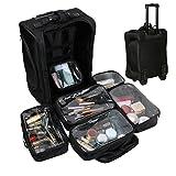 Ttaya メイクボックス プロ コスメボックス 大容量 キャリータイプ キャスター付き 化粧品 小物 収納ポーチ ブラック アーティストキャリアーメイクBOX