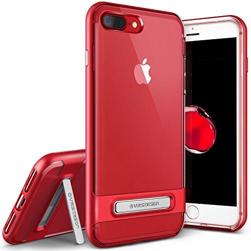 iPhone7 Plus ケース 耐衝撃 クリア VRS DESIGN Crystal Bumper 米軍MIL規格 衝撃吸収 薄型 カバー スタンド付 [ iPhone7Plus ] レッド