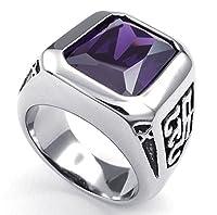 PW 高品質チタンとステンレス 紫ジルコン指輪 23468 【ラッピング対応】