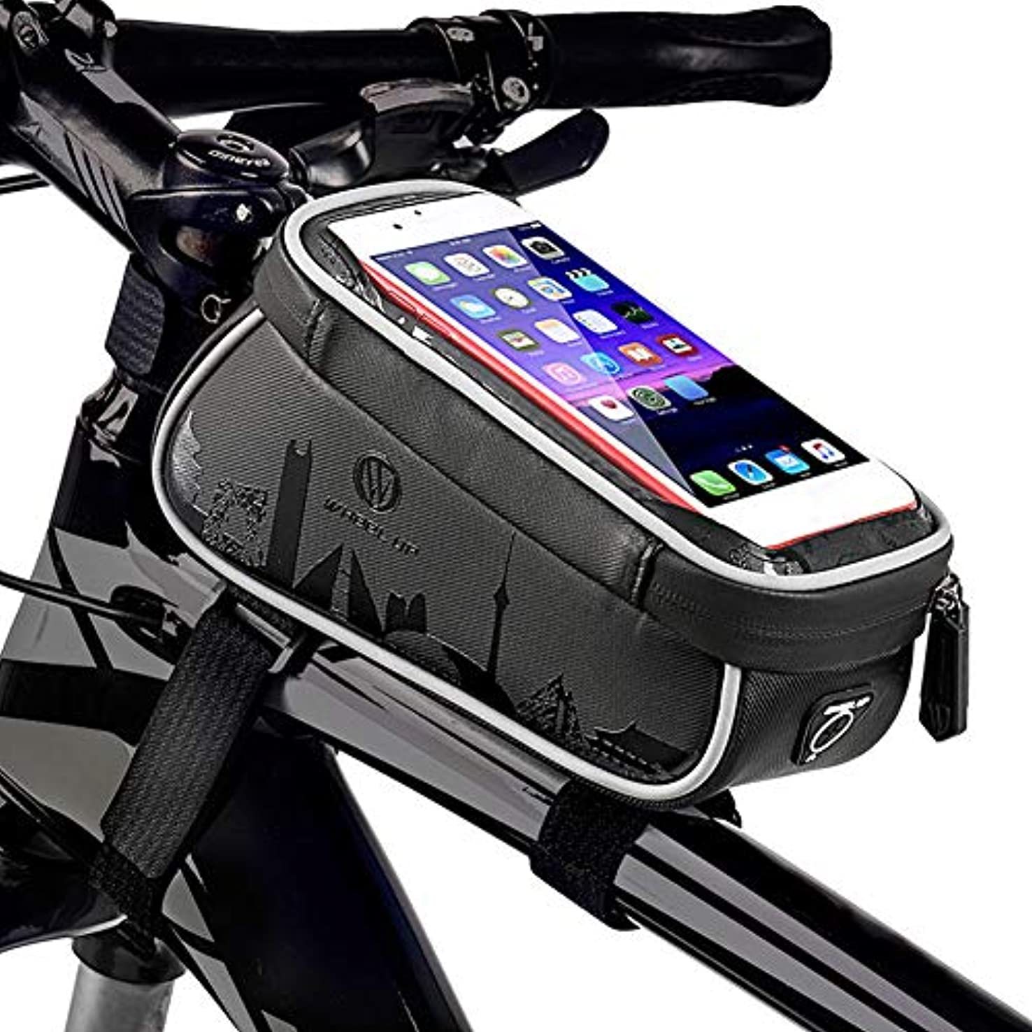 南極遮るリダクターhAohAnwuyg 自転車用フロント収納バッグ Wheelu 自転車用チューブ タッチスクリーン 6.1インチ 携帯電話ポーチ ブラック