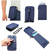 DFV mobile - Multi-functional Universal Vertical Stripes Pouch Bag Case Zipper Closing Carabiner for => LENOVO PHAB 2 PRO > Blue XXM (18 x 10 cm)