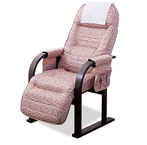 エムール 組立不要 オットマン付き高座椅子 リクライニング 肘掛け付き 高さ調整 ピンク 「きらく」