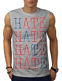 Wellcoda 憎いです 嫌い 男性用 S-5XL 袖なしTシャツ