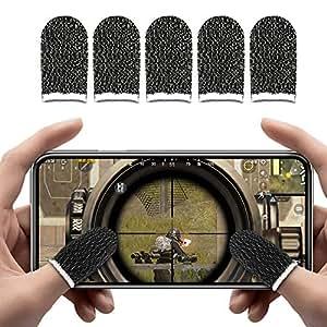 IUGGAN 荒野行動 PUBG Mobile スマホゲーム 手汗対策 超薄 銀繊維 5個入り 指カバー 反応早い 指サック 操作性アップ 携帯ゲーム Android/タッチパネル式携帯電話/タブレット スマホ対応 ((ブラック)超薄銀繊維指サックx5)