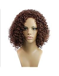 CATYAA 女性のための15inch合成高温ウィッグロングバンズの短いカーリーウィッグヘアナチュラルカラーウィッグ耐熱性210g(ワインレッド、ブラック) (Color : Wine red)