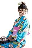 [ 京都きもの町 ] レディース浴衣 2点セット3,980円 全16柄と帯の2点セット F 07青丸菊+帯桃