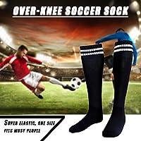 屋外サッカーフットボールハイキングスポーツのための1対の通気性アンチスリップオーバーニーソックス(ブラック)