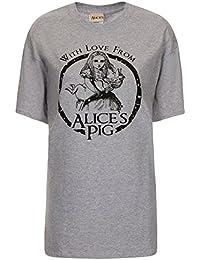 (アリスズピッグ) Alice's Pig ロゴ Tシャツ レディース Boyfriend Tee in Grey