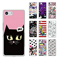 ScoLar スカラー デザイン Xperia Ace SO-02L機種専用スマホケース 50057 カバー ハードケース iPhone Xperia AQUOS Galaxy ARROWS黒猫 ピンク かわいい ファッションブランド