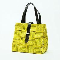 プライムミッション ハンドバッグ かごバッグ 黄色 イタリア製 カゴバッグ 手提げ(シニア ハイミセス 女性)