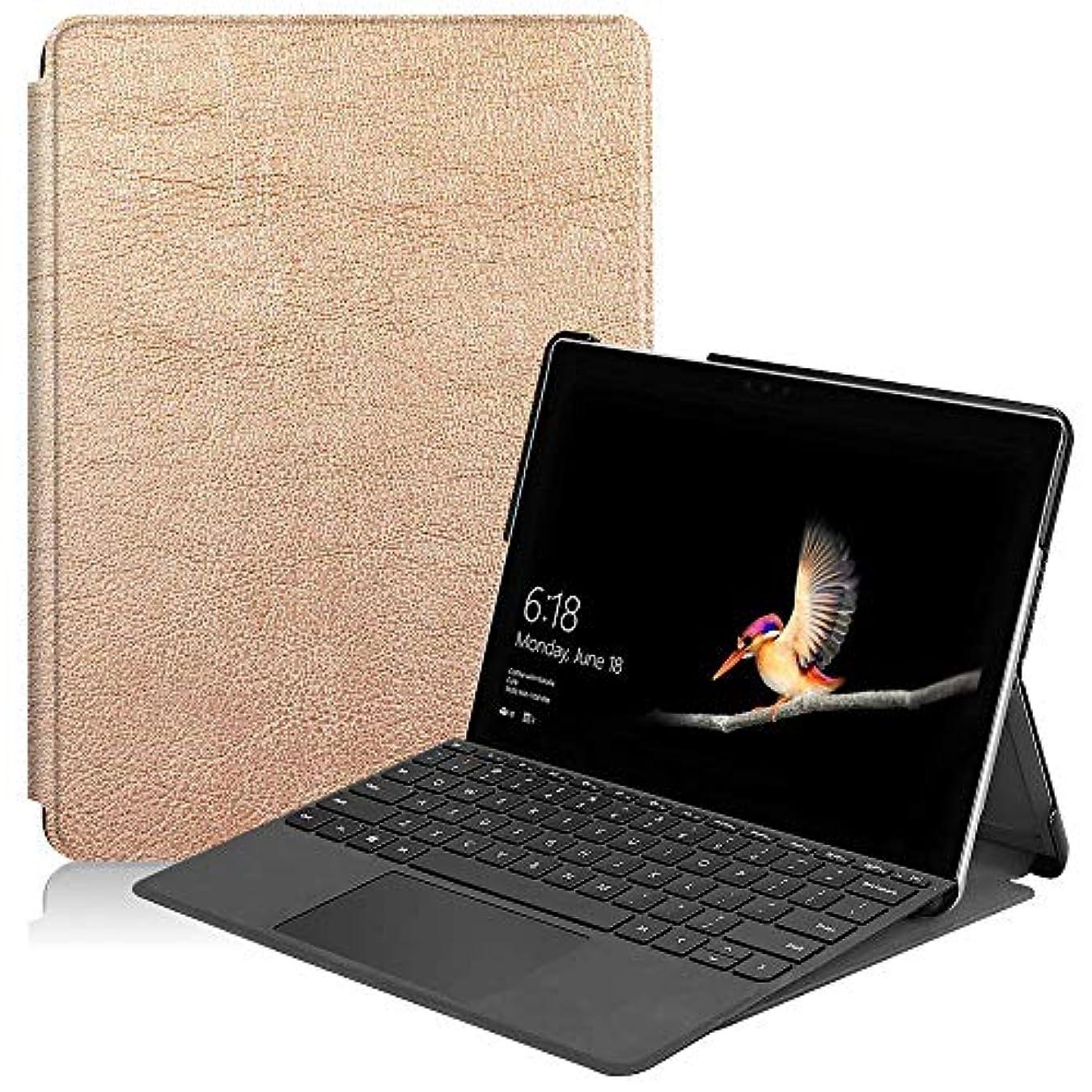 しわ魅惑的なアノイSurface Go ケース TopACE Surface Go カバー 超薄型 スマートケース スタンド機能付き 高級PU レザーケース Microsoft Surface Go対応 (ローズゴールド)